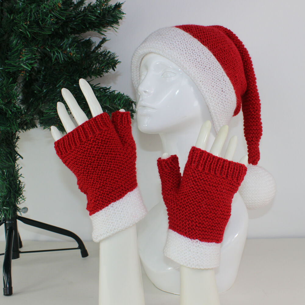dda0afa2c5d Details about KNITTING INSTRUCTIONS- ADULT SANTA HAT   FINGERLESS GLOVES KNITTING  PATTERN