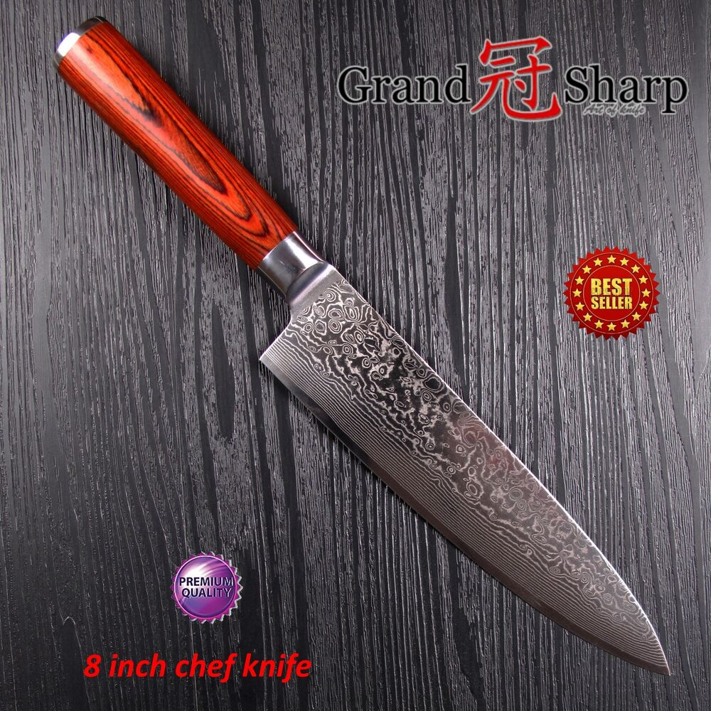 8 inch professiona chef knife damascus japanese stainless steel kitchen knives ebay. Black Bedroom Furniture Sets. Home Design Ideas