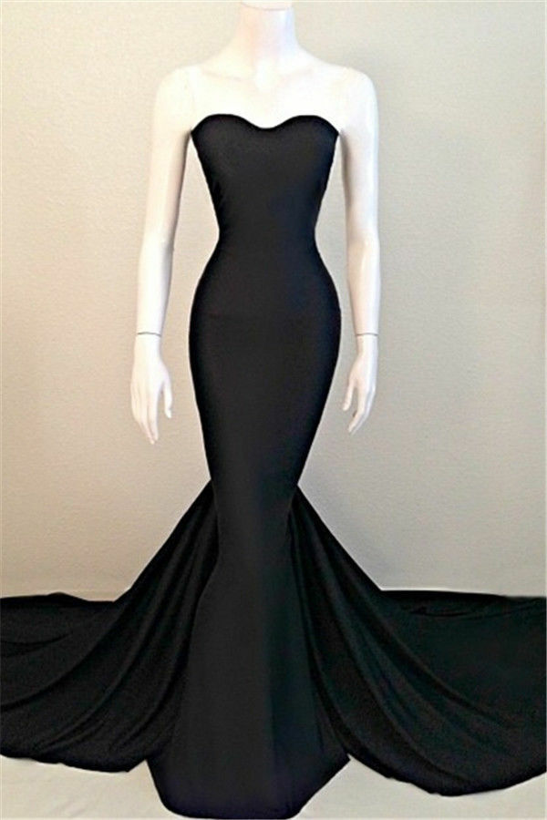 e38c6e8a54c12 Details about Black Mermaid Satin Fish Tail Evening Dresses Strapless Prom  Pageant Party Gowns