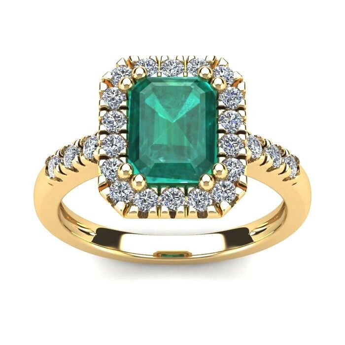 14k Yellow Gold 2 Carat Emerald Cut Genuine Emerald And