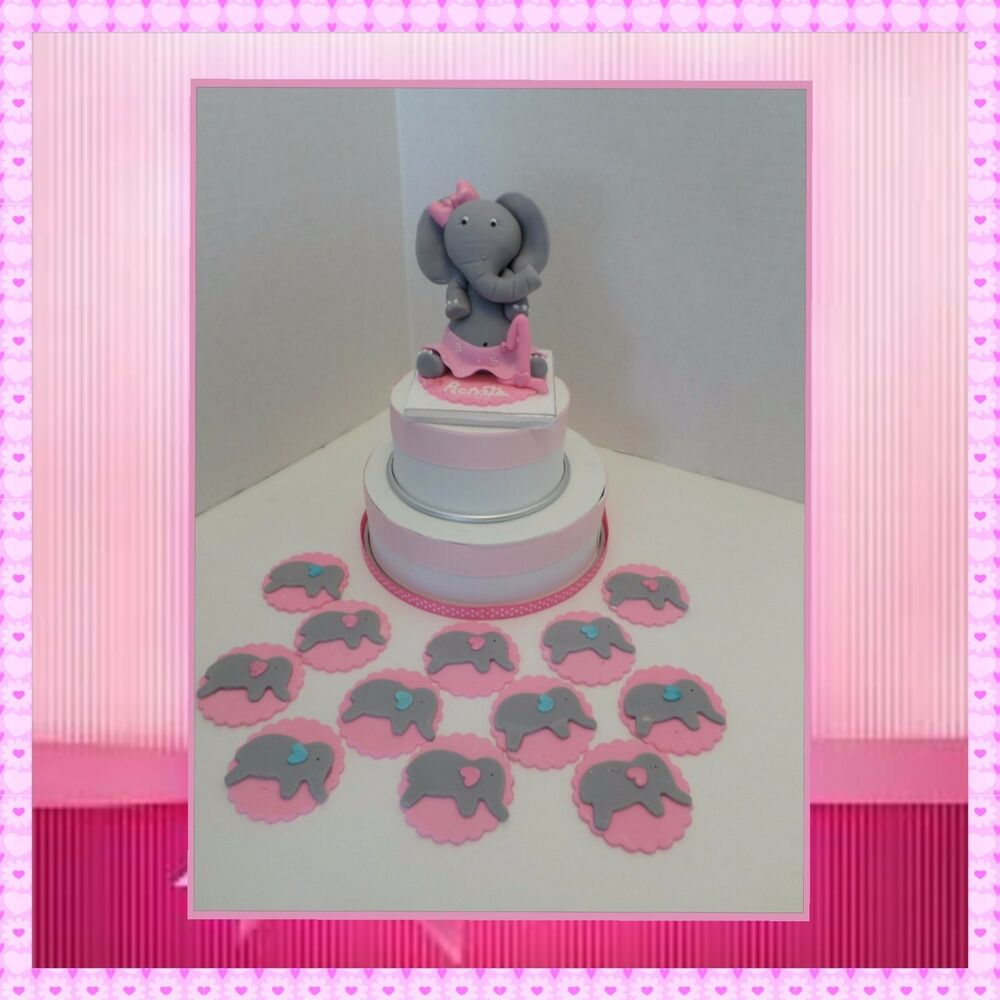 Edible elephant with skirt cake topper and 12 cupcake for How to make edible cake decorations at home