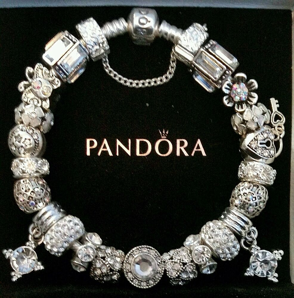 Charms For Bracelets Pandora: AUTHENTIC PANDORA Sterling Silver CHARM BRACELET With