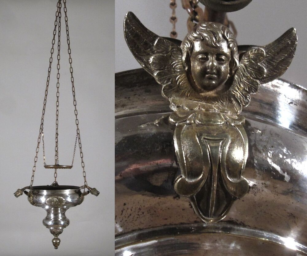 Antique French Silver Plate Tole Church Chandelier