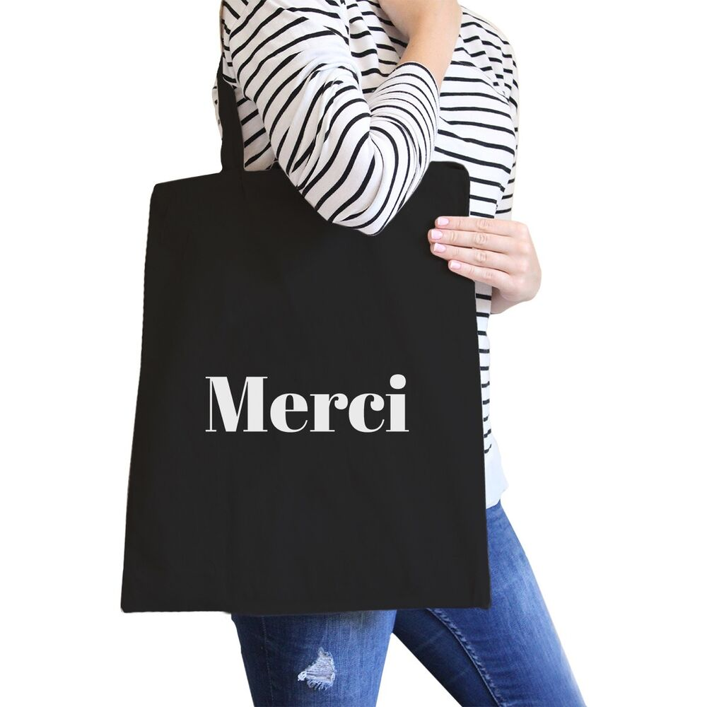 556fe1c41 Details about Merci Black Canvas Bag BFF Birthday Gift Idea Trendy Tote Bags
