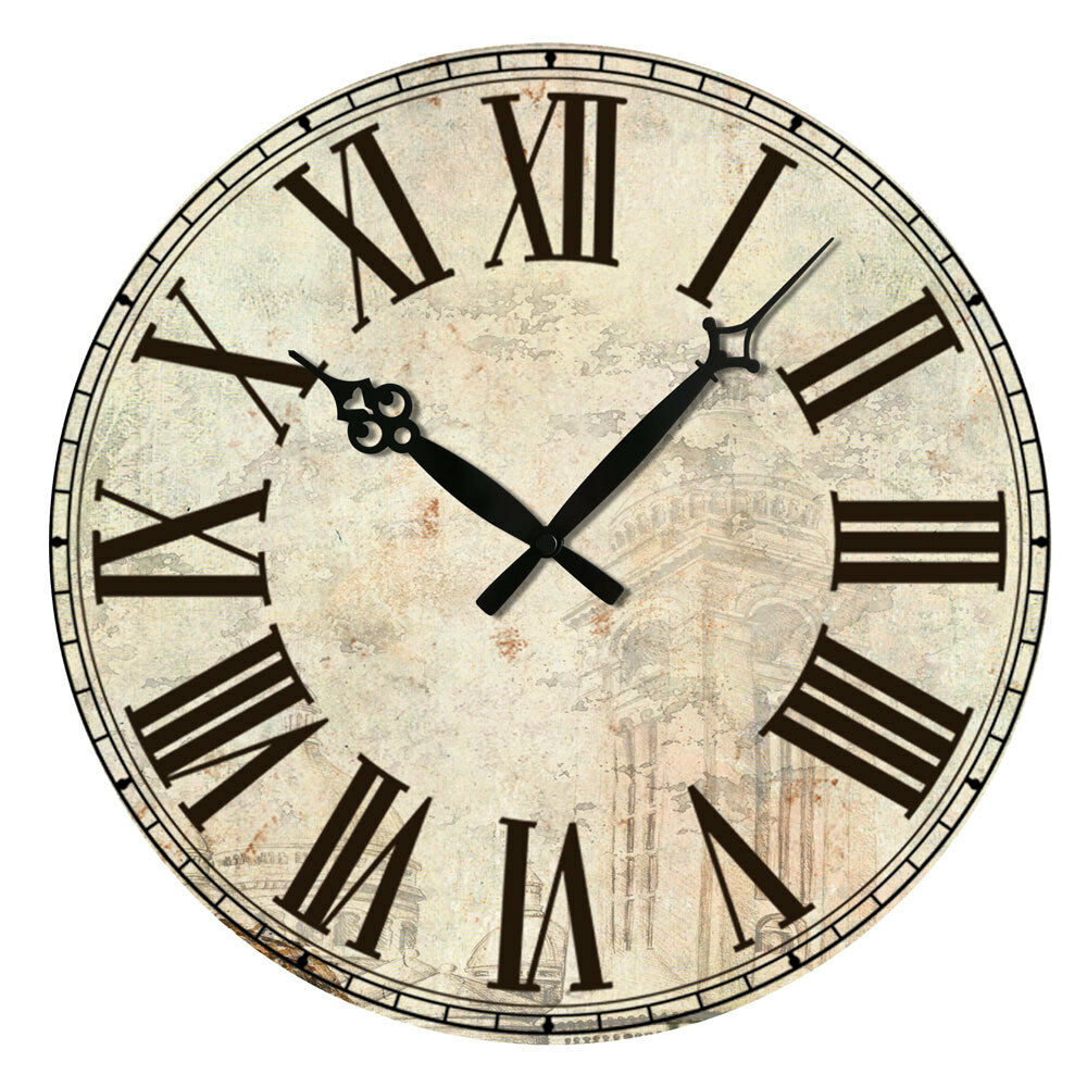 Vintage Style Rustic Wooden Wall Clock Home Antique Shabby