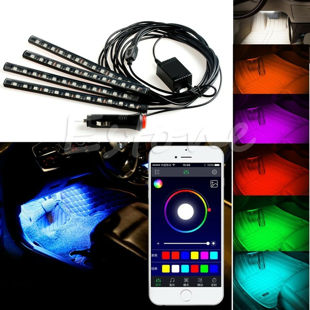 wireless app music control car interior rgb led neon strip light ebay. Black Bedroom Furniture Sets. Home Design Ideas