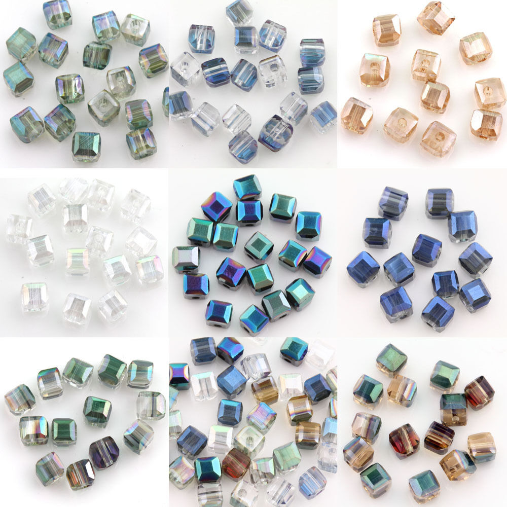 Beads Cheap Sale 4mm Glass Crystal Beads Loose Cube Square Shape Gold Champagne Ab Color For Jewelry Making Beads & Jewelry Making