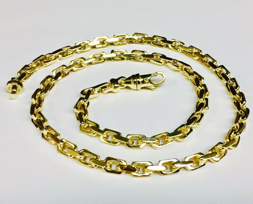 10kt Solid Yellow Gold Handmade Link Men S Chain Necklace