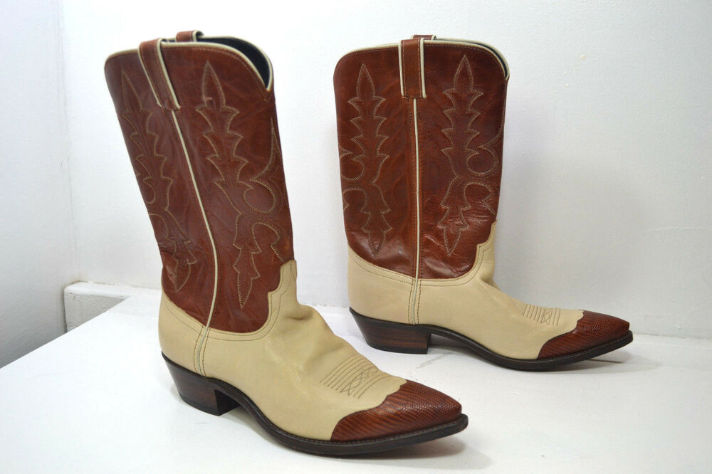 code west brown ivory leather western cowboy boots