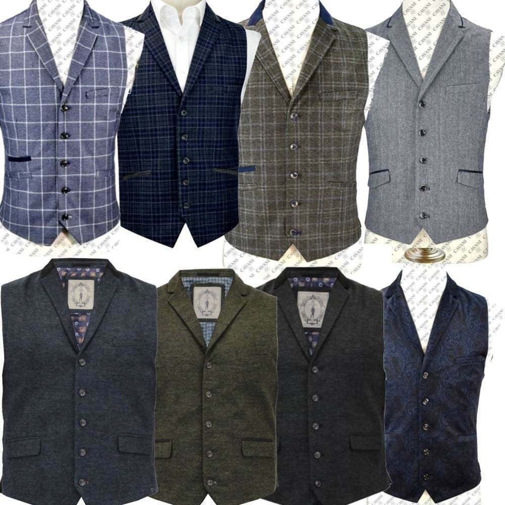 8a65237a2409ef Details about Cavani Mens Waistcoat Wool Mix Cord Formal Vest Herringbone  Tweed Check Party