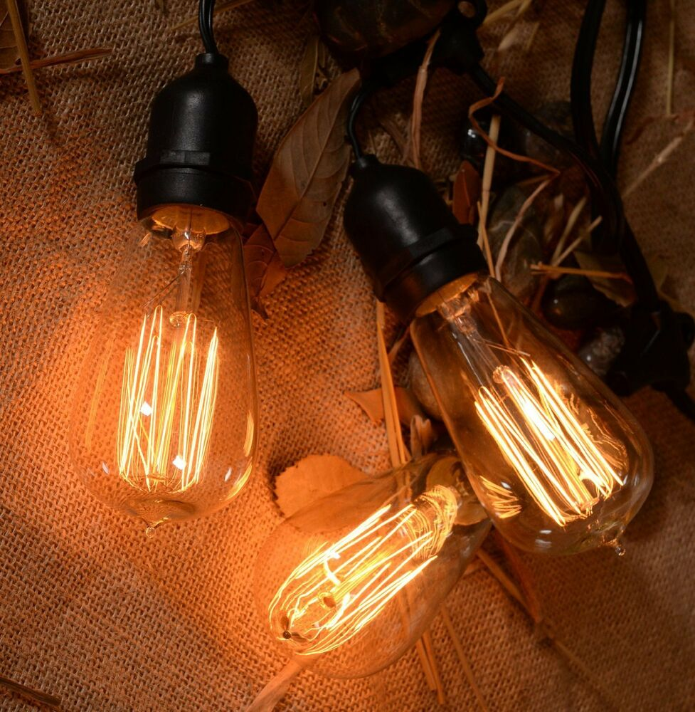 Outdoor String Lights Mains: Vintage String Lights Patio Lights W/ Retro Edison Bulbs
