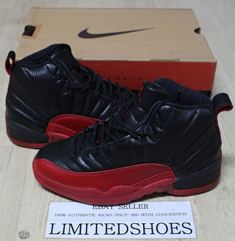 online store 657c0 ebf8e Details about NIKE AIR JORDAN XII 12 FLU GAME BLACK RED OG 130690-061 US 8  taxi cherry wings