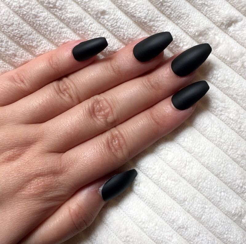 Hand Painted False Nails COFFIN (or ANY SHAPE) Plain Matte Black ...