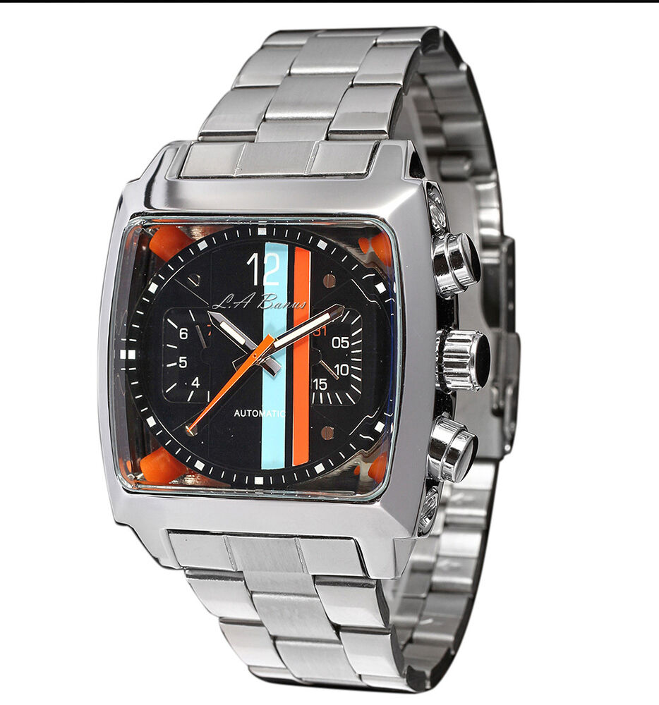 MENS LA BANUS AUTOMATIC TW WATCH STAINLESS STEEL BLACK ...