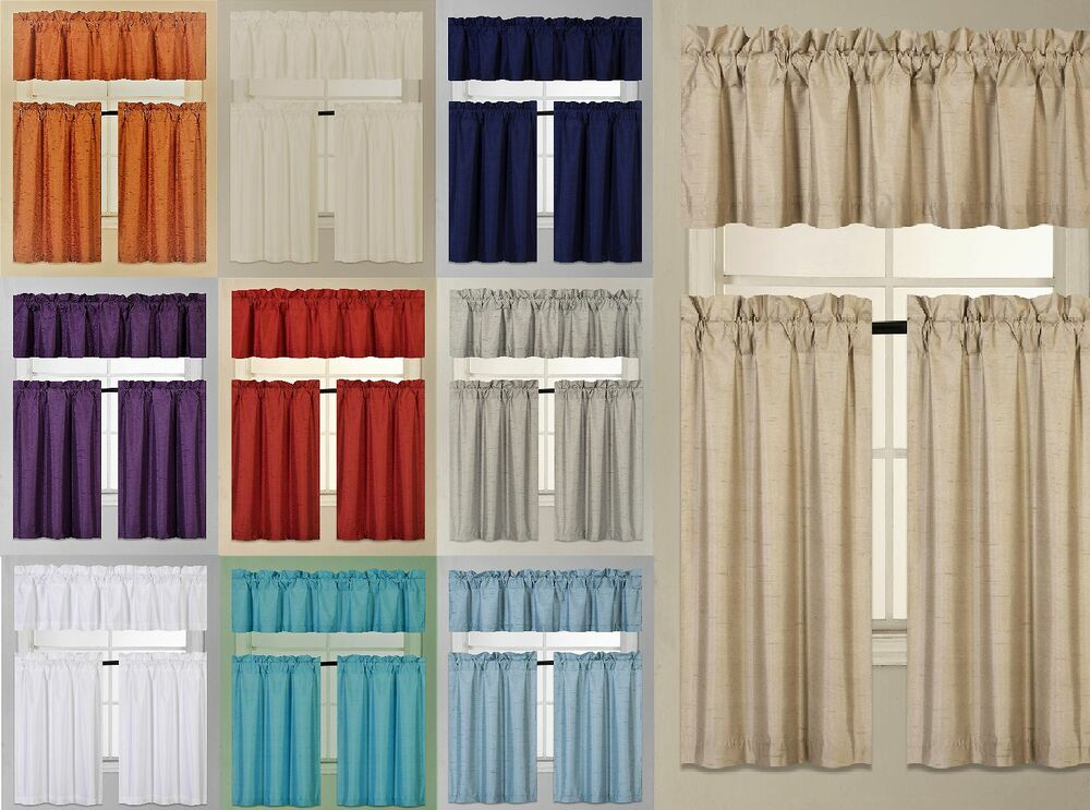 3pc Set Window Dressing Kitchen Curtain Solid Lined