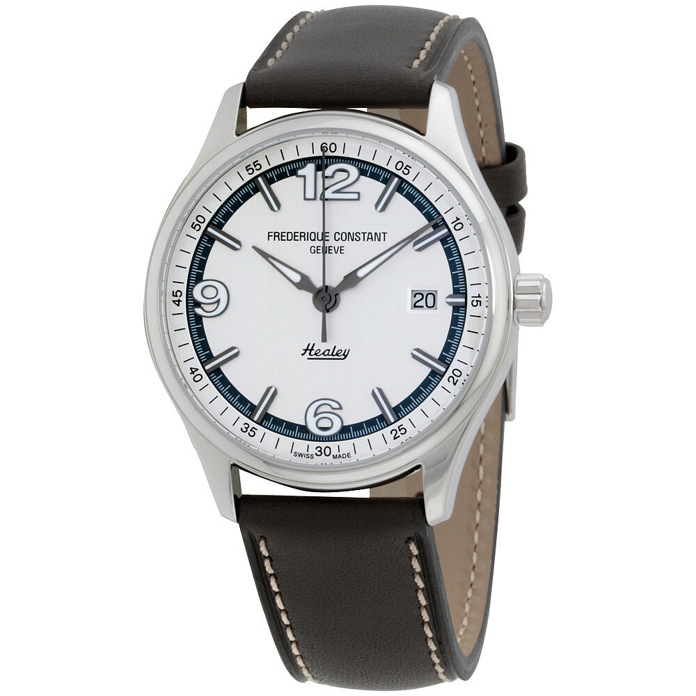 Frederique constant healey white dial leather strap men 39 s watch fc303wgh5b6 ebay for Leather strap watches