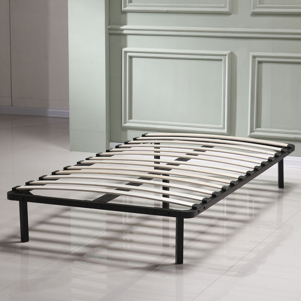 twin bedroom slat bed frame platform solid wood steel home furniture ebay. Black Bedroom Furniture Sets. Home Design Ideas