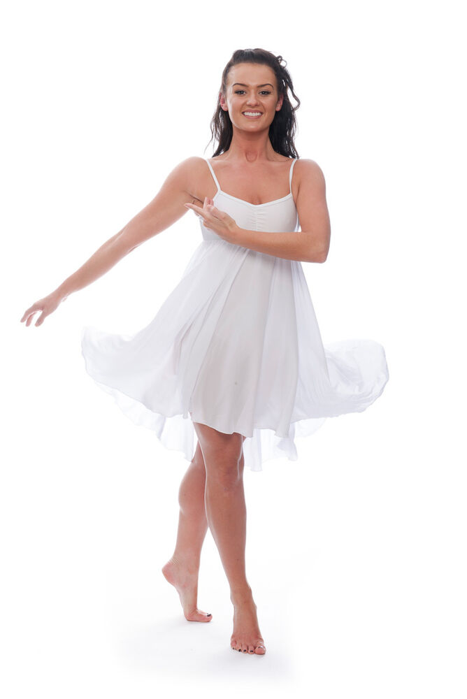 def7ac3120b3 Ladies Girls White Plain Lyrical Dress Contemporary Ballet Dance ...