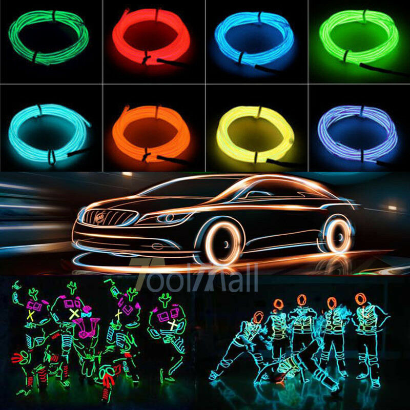 15FT Neon LED Light Glow EL String Wire Strip Rope Car Dance Party+Controller US eBay