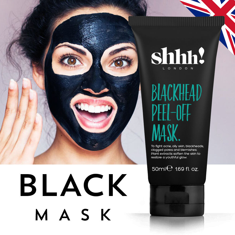 All Natural Charcoal Blackhead Mask Made With 2: SHHH! Black Mask 50ml Peel Off Blackhead Remover Purifying