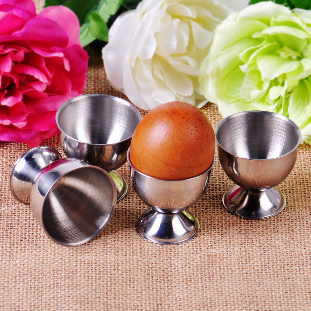 4pcs Stainless Steel Soft Boiled Egg Cups Holder Tabletop