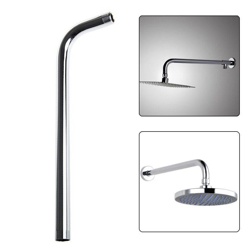 60cm wall shower head extension pipe long stainless steel arm bathroom home new ebay. Black Bedroom Furniture Sets. Home Design Ideas