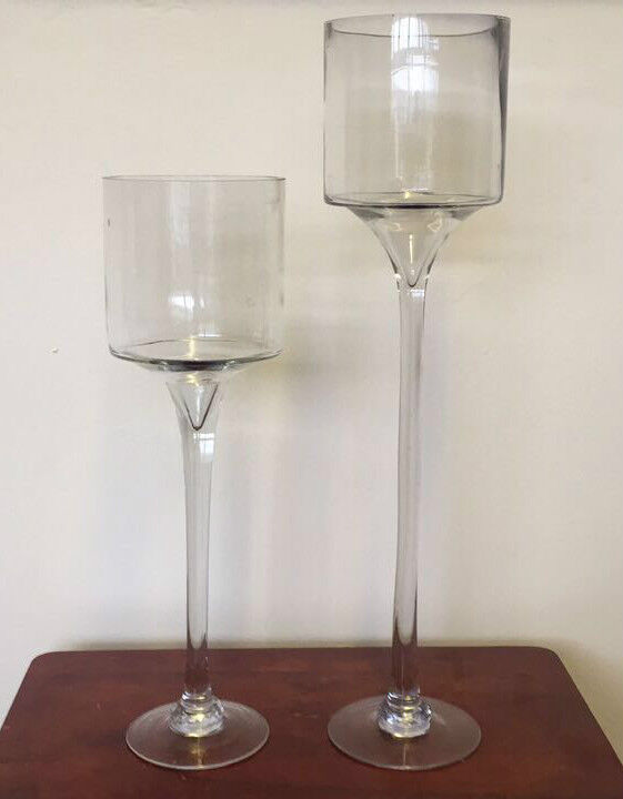 Set of 2 large glass centrepiece wedding candle holder for Ornamental centrepiece for a dining table