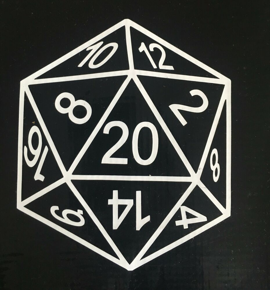 d20 dice dungeons and dragons vinyl sticker decal