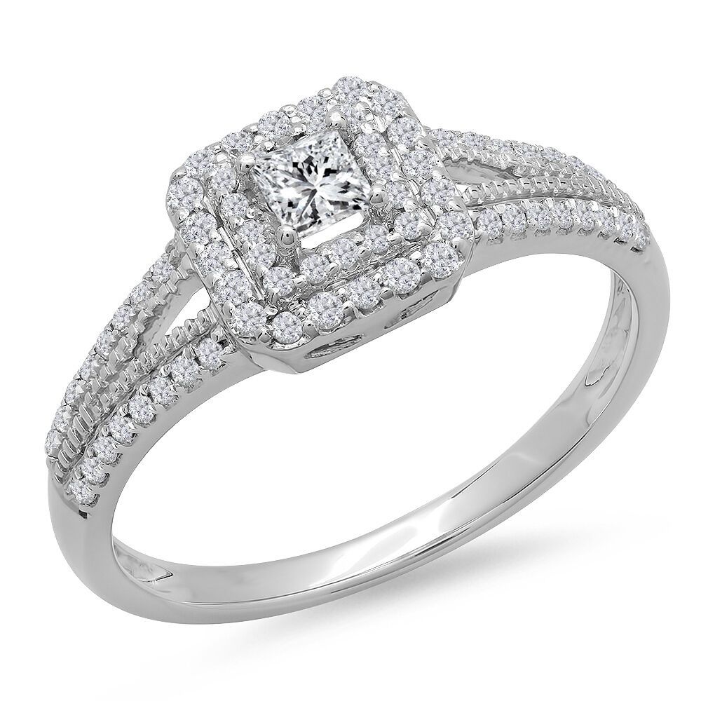 14K White Gold Princess & Round Cut Diamond Halo ...