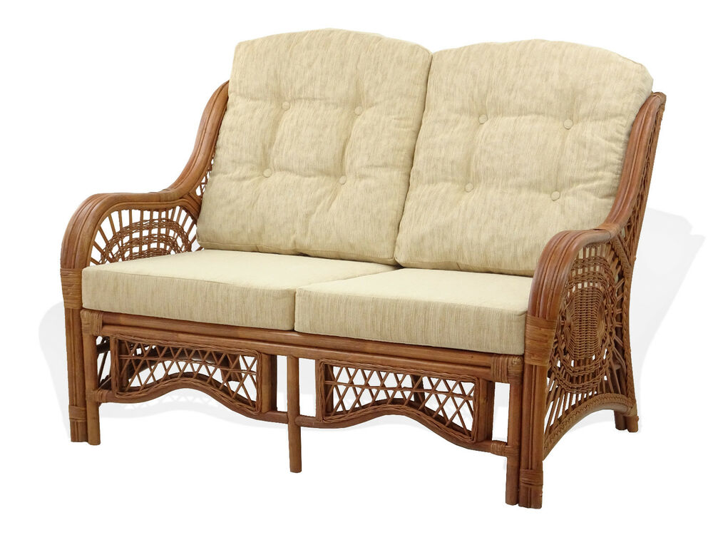 malibu design natural handmade rattan wicker lounge loveseat sofa ebay. Black Bedroom Furniture Sets. Home Design Ideas