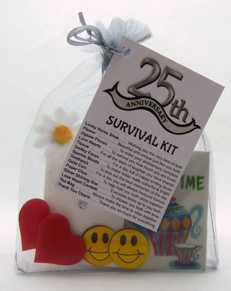25th Silver Wedding Anniversary Survival Kit Novelty Gift