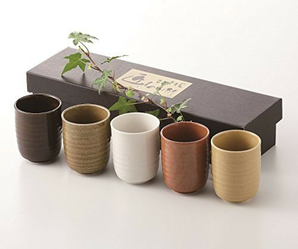 Japanese Tea Cup 5 Pcs Set Mino Ware Pottery New Made In