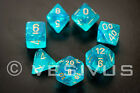 DICE Chessex Borealis TEAL BLUE 7-Dice Set Clear Green d20 d10 d6 D&D 27486