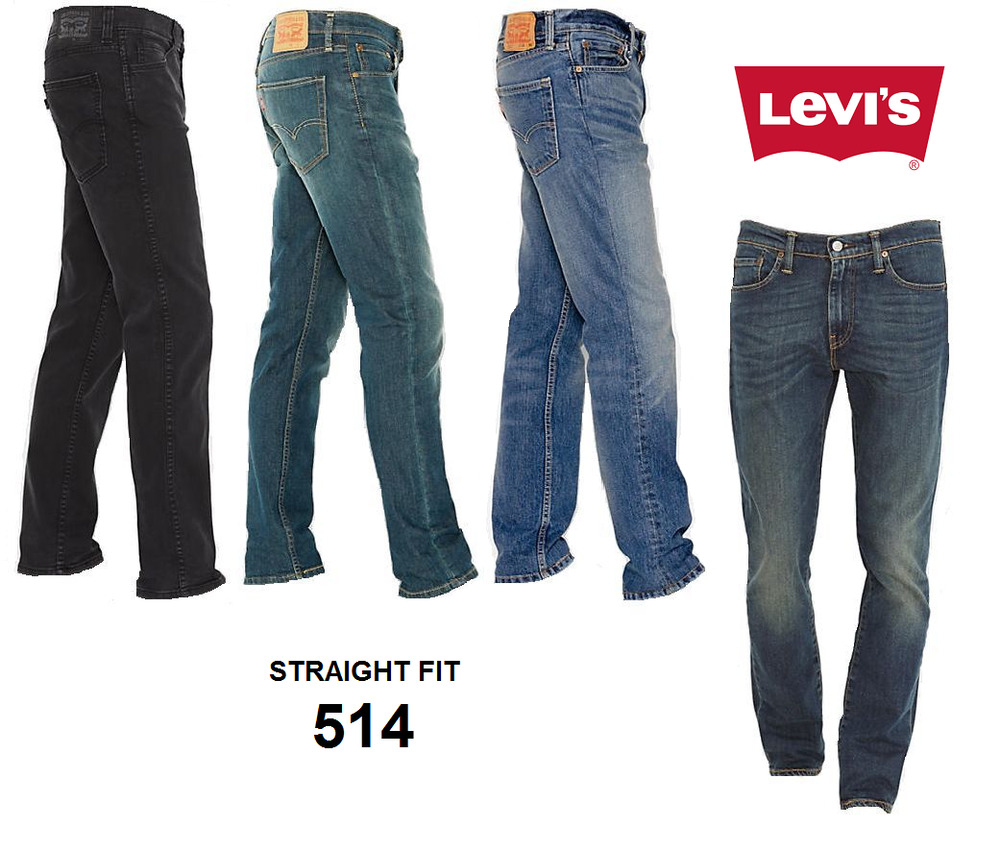 Genuine LEVIS 514 Straight Fit Mens Denim Jeans Blue Black ...