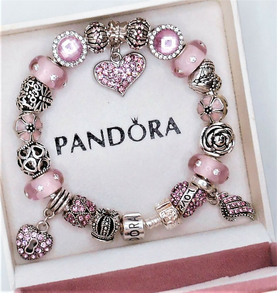 authentic pandora silver charm bracelet with pink love. Black Bedroom Furniture Sets. Home Design Ideas