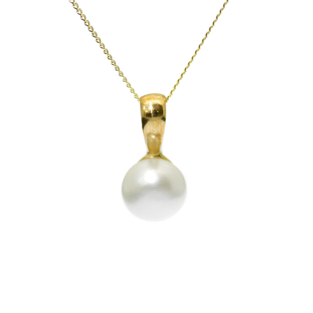 9ct Gold Pearl Pendant Necklace Single Oval Cultured ...