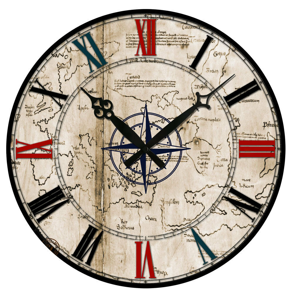 Vintage Style Wooden Wall Clock Round Rustic Kitchen