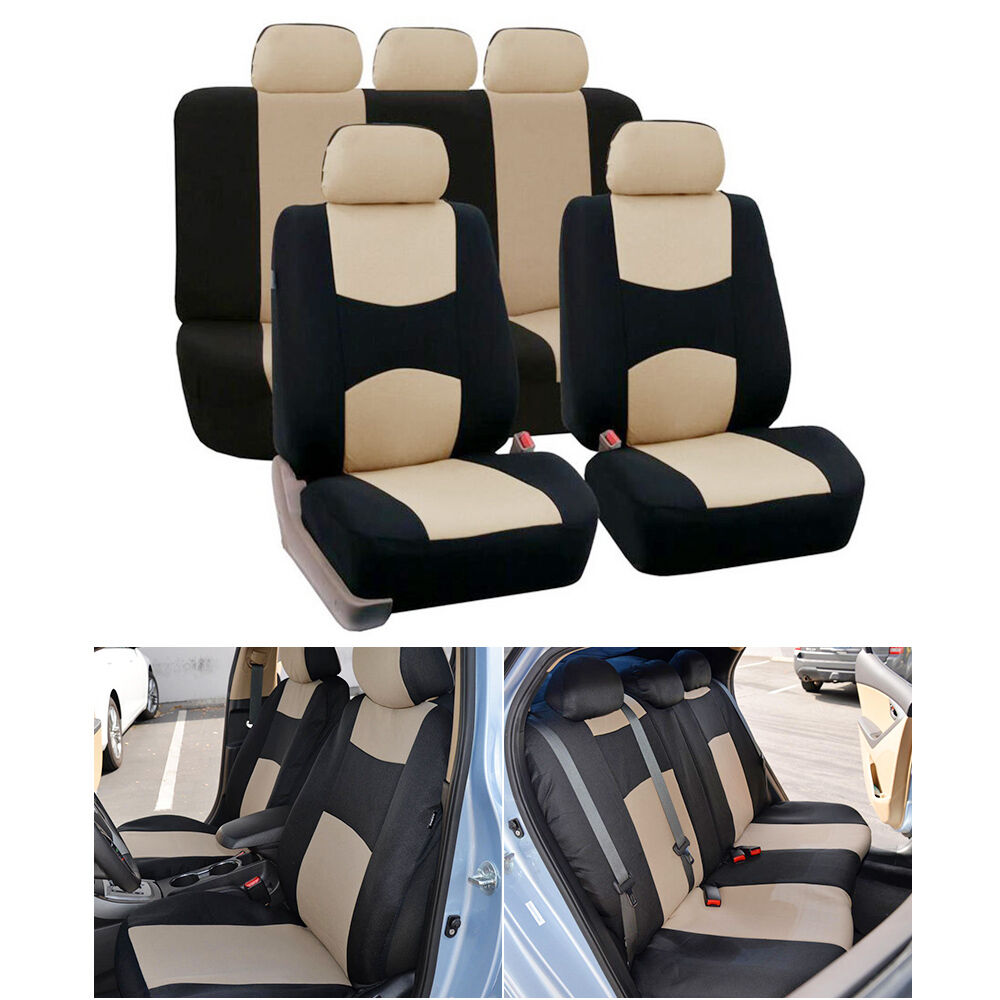 durable s m size car 5 seats beige seat cover mesh polyester front rear cover ebay. Black Bedroom Furniture Sets. Home Design Ideas
