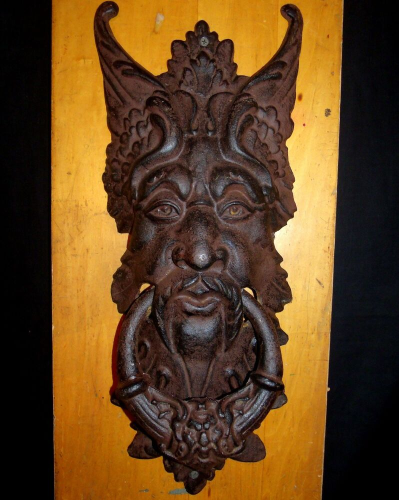 Door knocker extra large green man cast iron door knocker 21 tall 8 wide ebay - Greenman door knocker ...