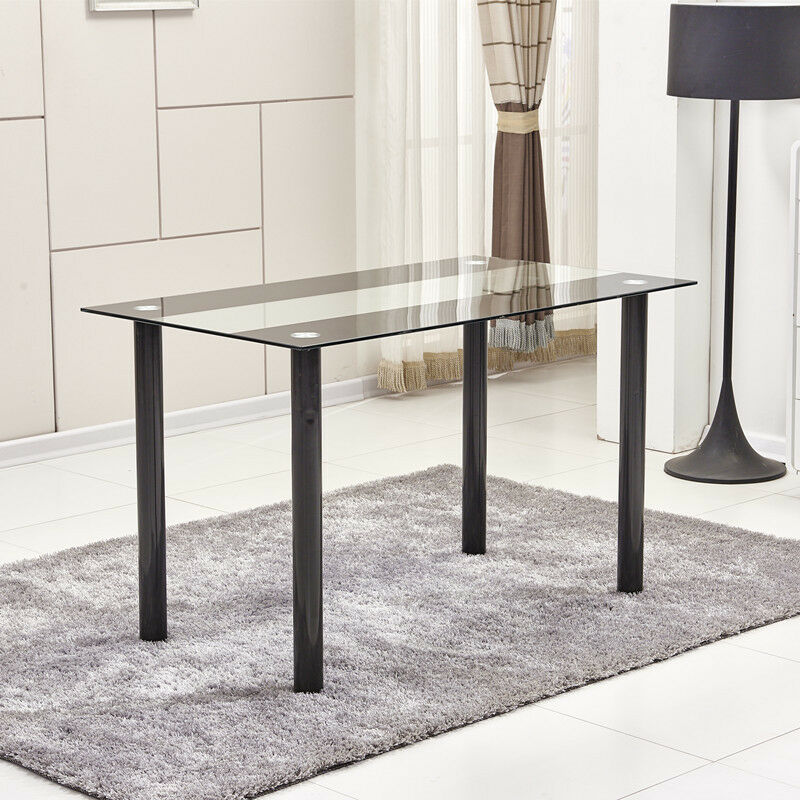 Modern black clear 8mm tempered glass dining table black for Modern black dining table