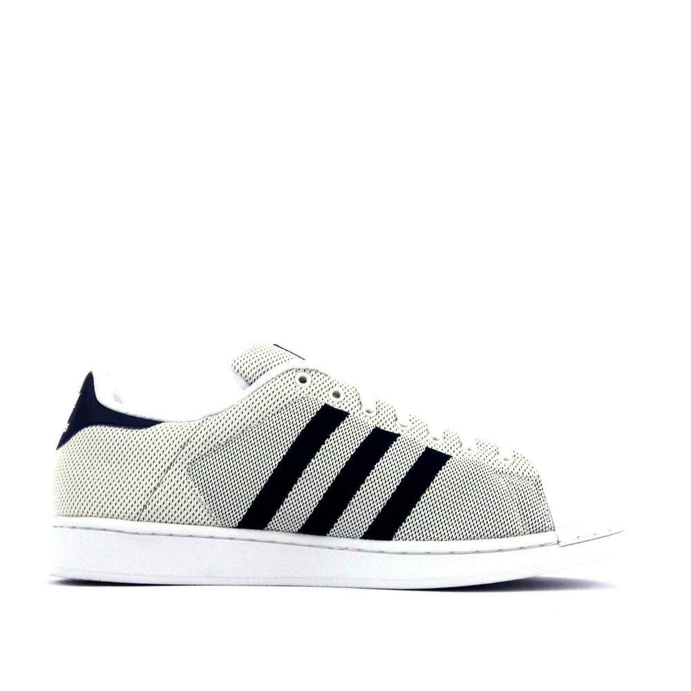 huge selection of b8ba8 f6fe7 Mens ADIDAS SUPERSTAR White Navy Blue Textile Casual Trainers BB5795   eBay