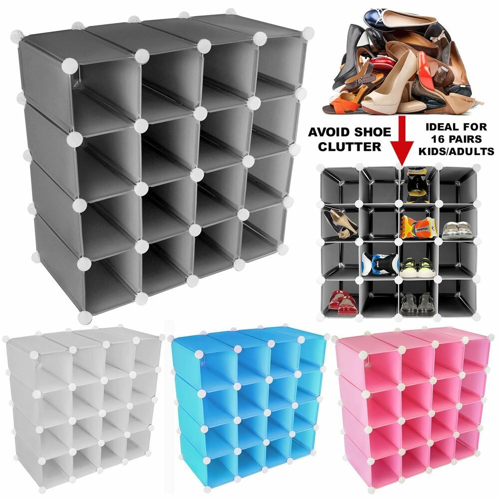 16 Pair Interlocking Shoe Organiser Storage Shelf Cube ...