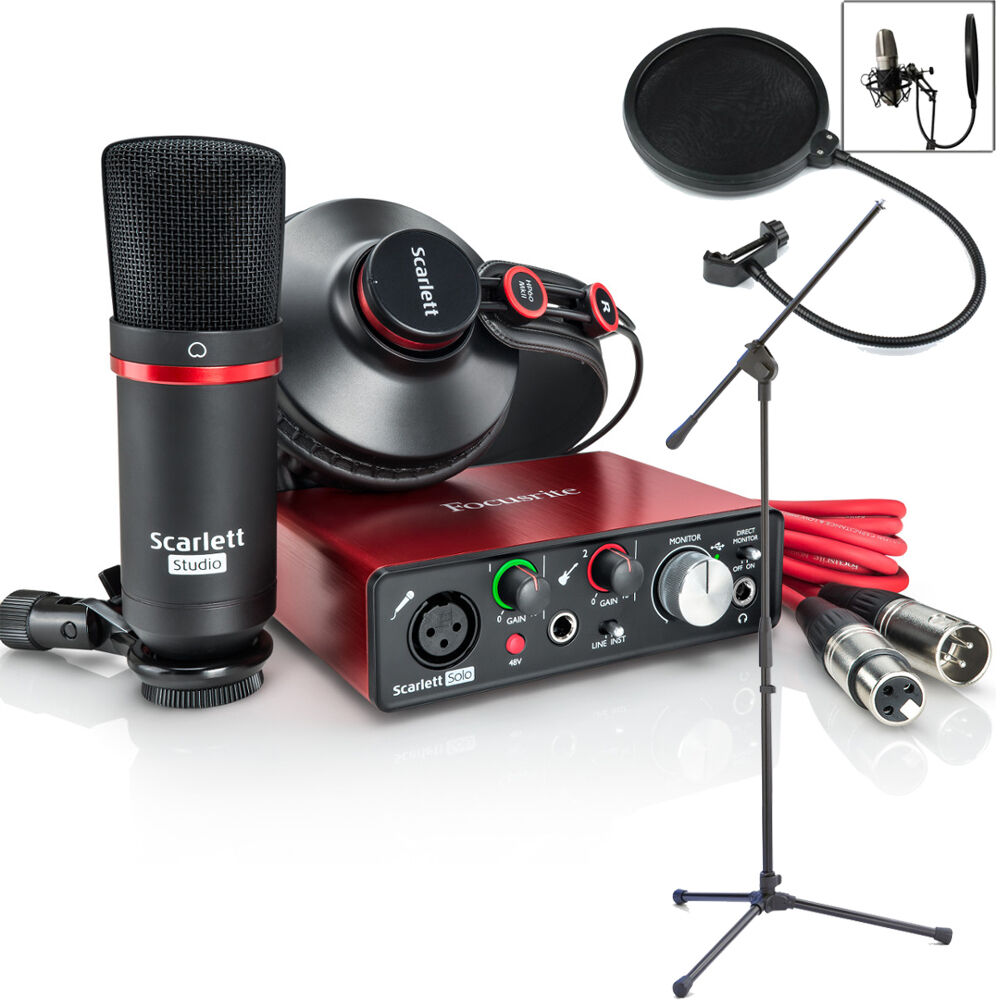 focusrite scarlett solo studio 2nd home recording pack bundle stand filter ebay. Black Bedroom Furniture Sets. Home Design Ideas