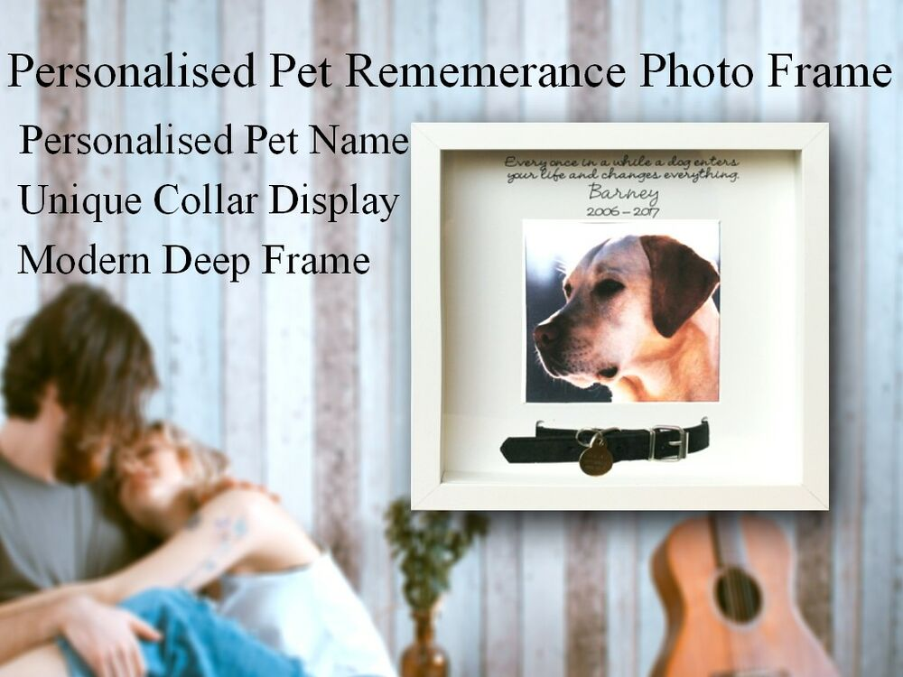 Personalised White Photo Frame Pet Dog Collar Memory Bereavement ...