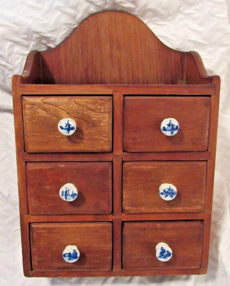 Vintage Carl Forslund Cherry Wood Spice Cabinet Drawers
