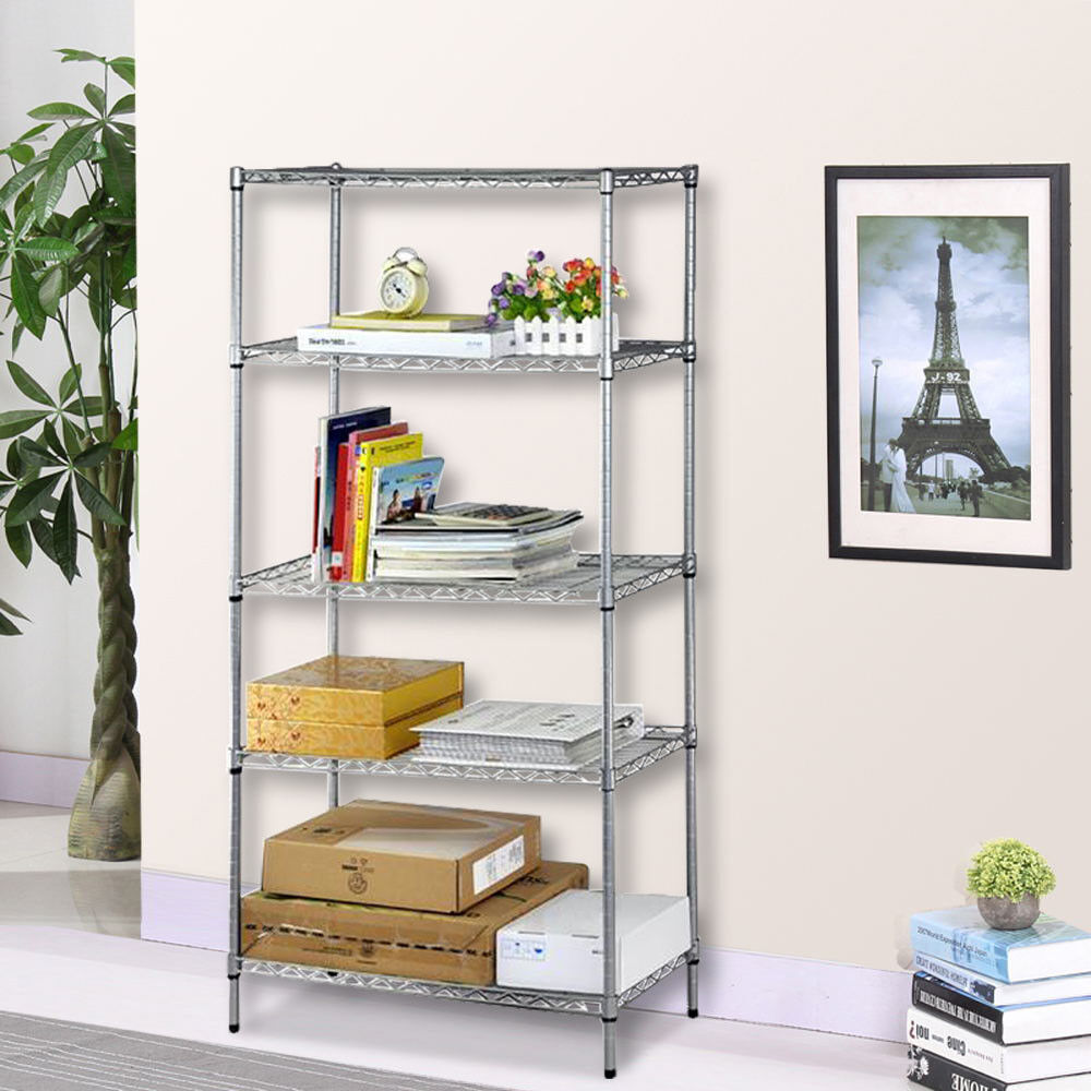 Kitchen Shelf Metal: Heavy Duty 5 Tiers Chrome Steel Shelf Kitchen Garage