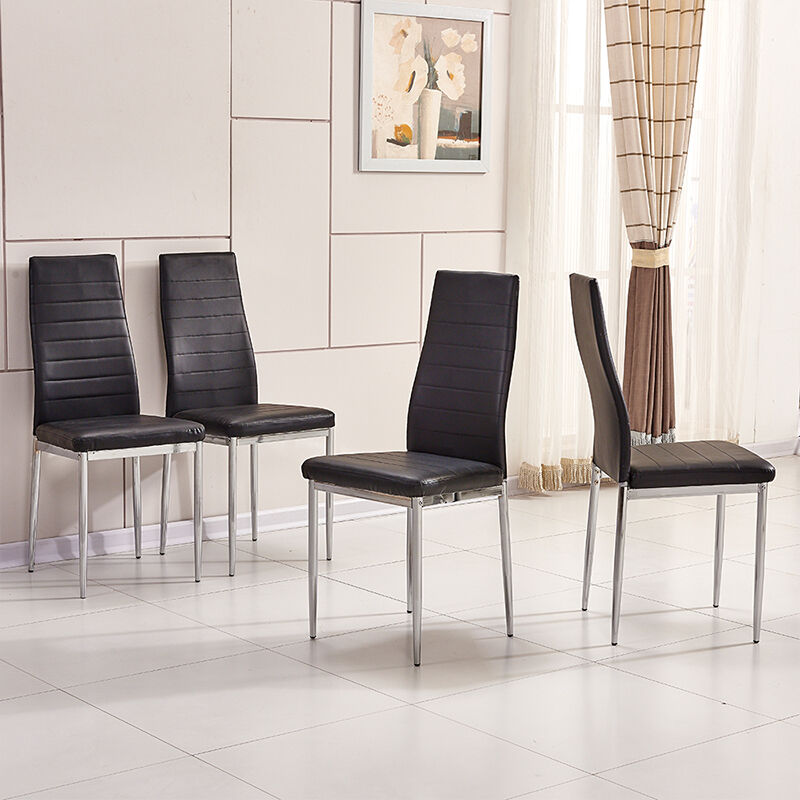 Chrome Dining Room Chairs: 4x Black Modern High Back Faux Leather Foam Dining Chairs