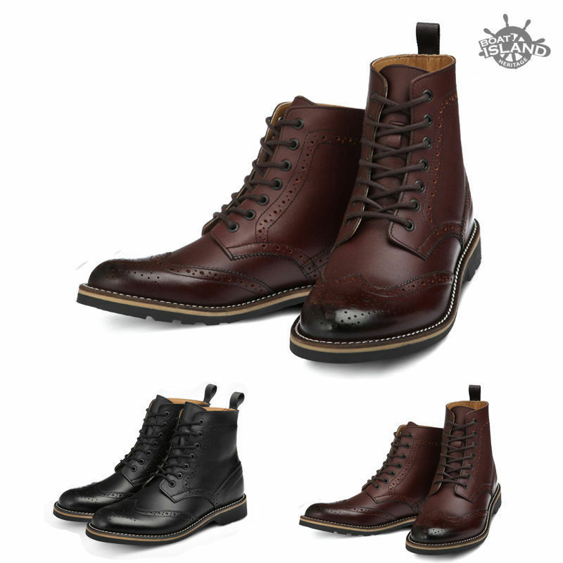 bhw7701 leather wing tip casual lace up mens ankle boot