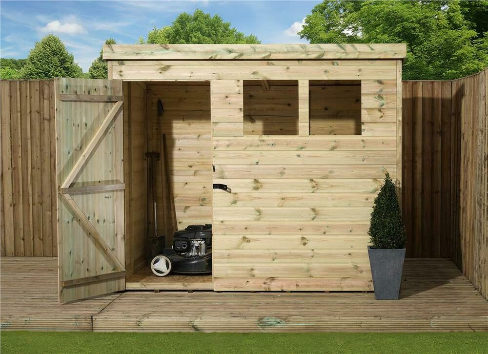 wooden garden shed 7x7 shiplap pent shed tanalised pressure treated door left - Garden Sheds 7x7