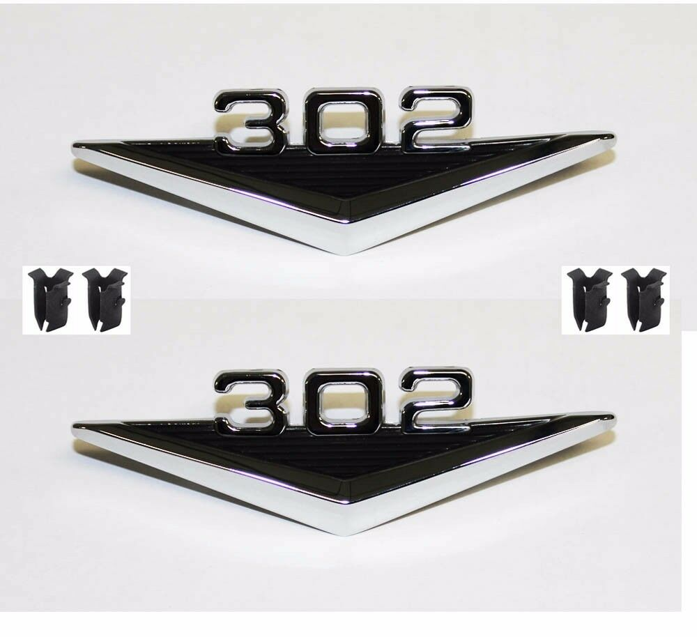 new 1965 1966 ford mustang 302 v8 fender emblem set both. Black Bedroom Furniture Sets. Home Design Ideas